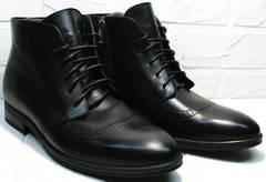 Зимние мужские ботинки кожа Ikoc 3640-1 Black Leather.