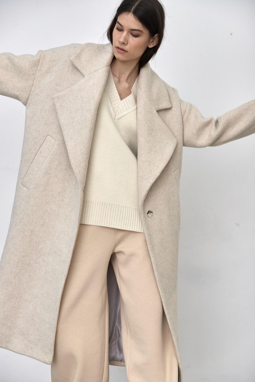 Пальто с большим лацканом, молочный кашемир