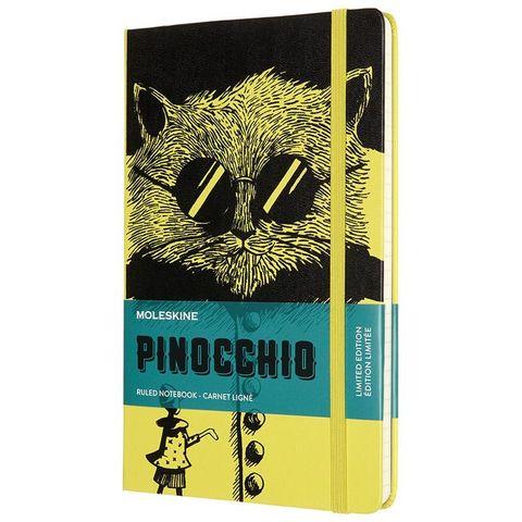 Блокнот Moleskine LE PINOCCHIO The Cat (LEPIQP060A) 130х210 мм, 240 стр. в линейку, черный/желтый