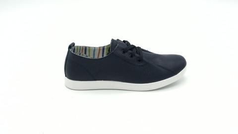 Темно- синие кожаные полуботинки на белой подошве