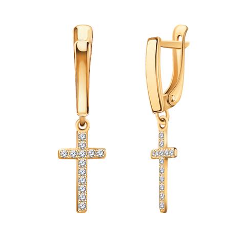 20622 - Серьги из золота с подвесками в виде крестиков