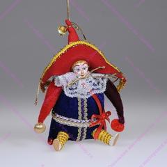 Елочная игрушка клоун в большой шляпе