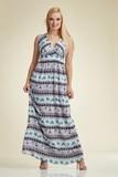 Платье для беременных 06185 коричневый-бежевый