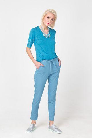 Фото голубые укороченные брюки с поясом на завязках - Брюки А487-194 (1)