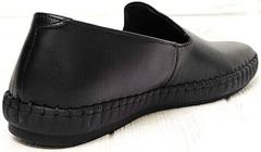 Стиль смарт кэжуал черные мокасины туфли мужские кожаные Broni M36-01 Black.