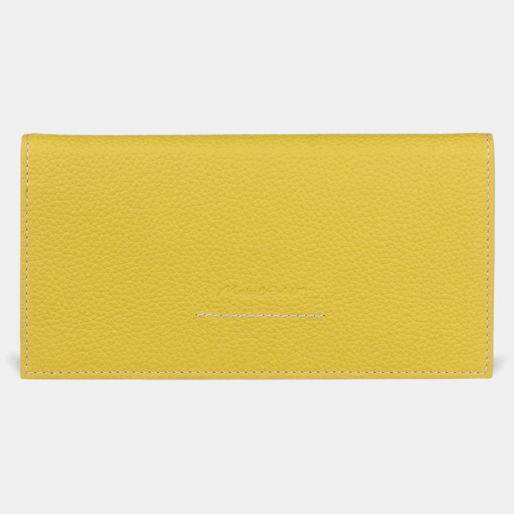 Кошелек женский Eclair Bicolor из натуральной кожи теленка, желтого цвета