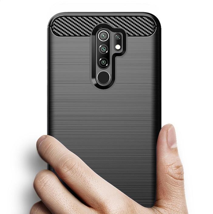 Чехол черного цвета серии Carbon для Xiaomi Redmi 9 от Caseport