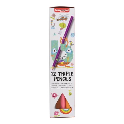 Набор цветных карандашей Bruynzeel Kids 12 трехгранных карандашей в картонной упаковке