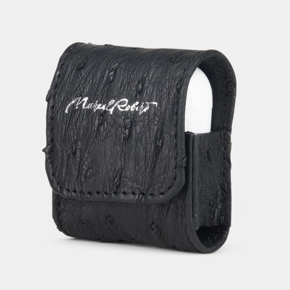 Чехол-держатель для наушников Petit Bisness из натуральной кожи страуса, черного цвета