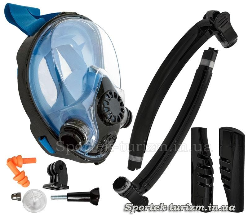 Комплектация маски для снорклинга с дыханием через нос Zelart HJKB K-2 с двумя трубками