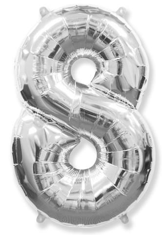 Воздушный шар (40''/102 см) Цифра, 8, Серебро, 1 шт.