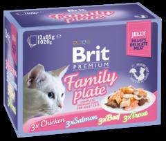 Паучи для кошек, Brit Premium Cat Jelly, Семейная тарелка