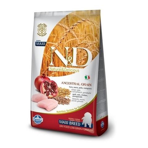 12 кг. FARMINA N&D LG Сухой низкозерновой корм для щенков крупных пород с курицей, гранатом, спельтой и овсом Puppy Maxi Chicken&Pomegranate