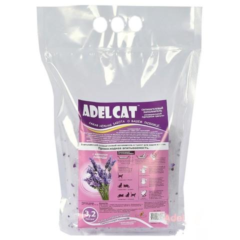Наполнитель Adel cat силикагель универсальный ЛАВАНДА пурпурные гранулы 3,2л