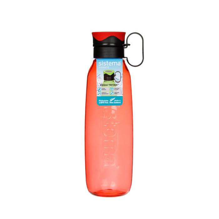 "Бутылка для воды с петелькой Sistema ""Hydrate"", Тритан, 850 мл, цвет Красный"