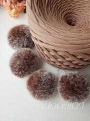 Помпон из натурального меха, Кролик, 5-6 см, цвет Белка, 2 штуки