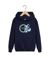 Толстовка темно-синяя с капюшоном (худи, кенгуру) и принтом Знаки Зодиака, Водолей (Гороскоп, horoscope) 001
