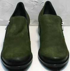 Кожаные женские туфли на толстом каблуке 5 см демисезонные Miss Rozella 503-08 Khaki.