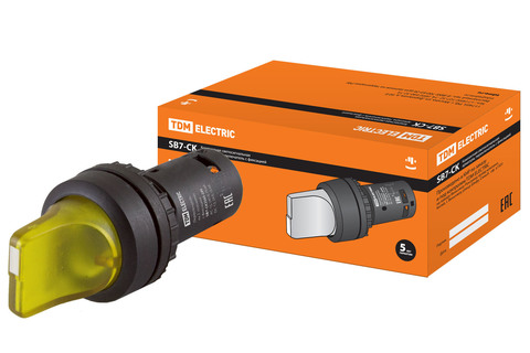 Переключатель на 2  положения с фиксацией SB7-CK2565-24V короткая ручка(LED) d22мм 1з+1р желтый TDM