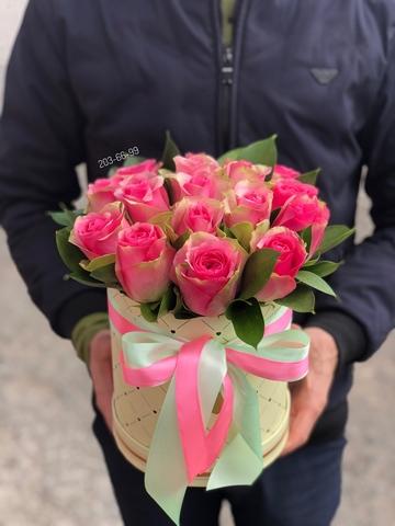 17 роз в шляпной коробке #19611