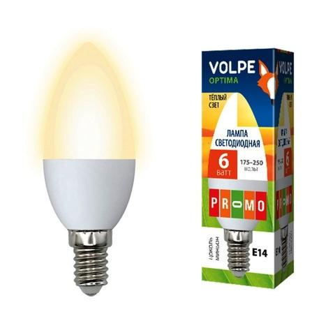 Volpe Лампа LED-C37-6W/WW/E14/FR/O Optima свеча (теплый свет)