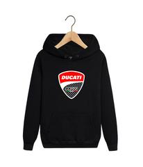 Толстовка черная с капюшоном (худи, кенгуру) и принтом Дукати (Ducati) 001