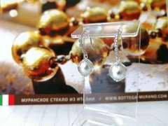 Серьги из муранского стекла со стразами Allegra Silver 004A