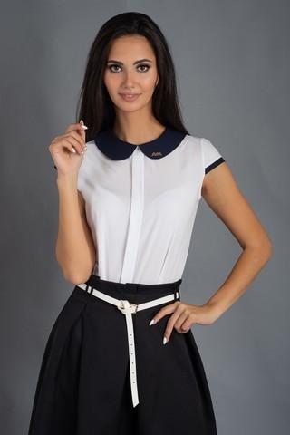 Віта. Класична блуза з круглим коміром. Білий