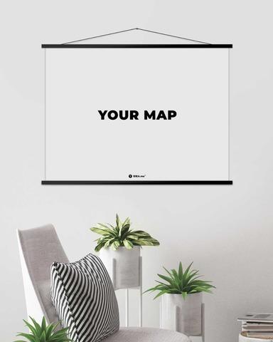 Рамка для скретч карт мира (темная) 80 см