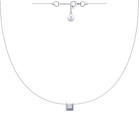 94070150-  Ромбик на леске-невидимке с серебряными замочками