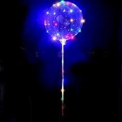 Шар (15''/38 см) Сфера 3D, Deco Bubble в комплекте со светящейся нитью и палкой - ручкой, 1шт