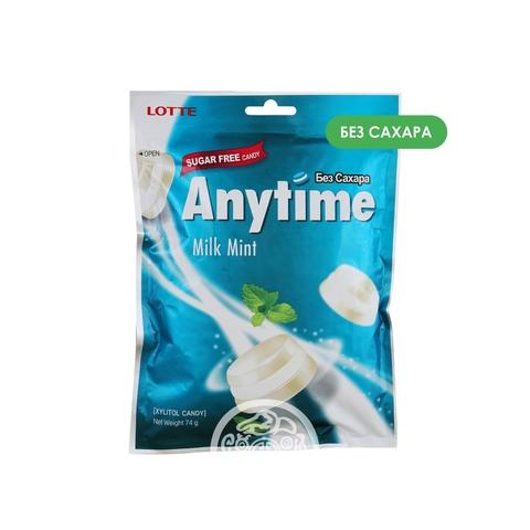 Карамель леденцовая с ксилитолом Anytime Milk Mint без сахара 74г пак Lotte Корея