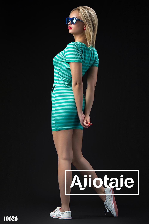 Платье мини в полосочку с коротким рукавом