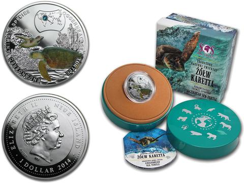 1 доллар 2014 год. Головастая морская черепаха Логгерхед Исчезающие виды. Ниуэ. Серебро