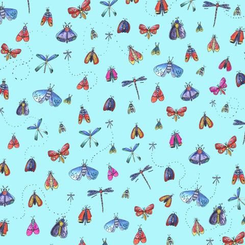 Бабочки на голубом фоне