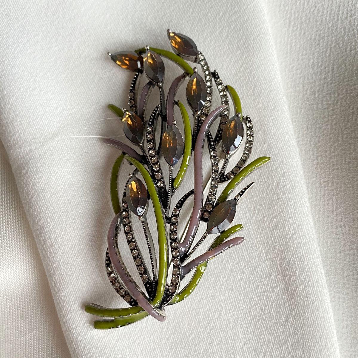 Брошь Букет Кустовой эмаль фианиты чернение зеленый