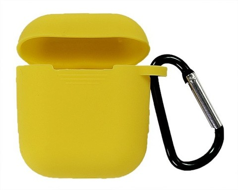 Чехол AirPods TPU | желтый с карабином