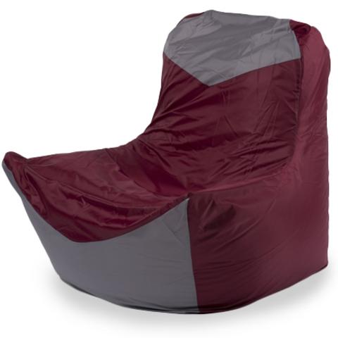Бескаркасное кресло «Классическое», Бордовый и серый