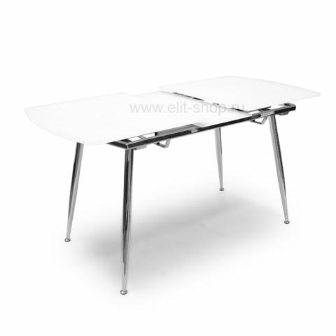 Стол T600 SUPER WHITE Белый шелк / выбеленное матовое стекло / опора хром / 122(152)х74 см