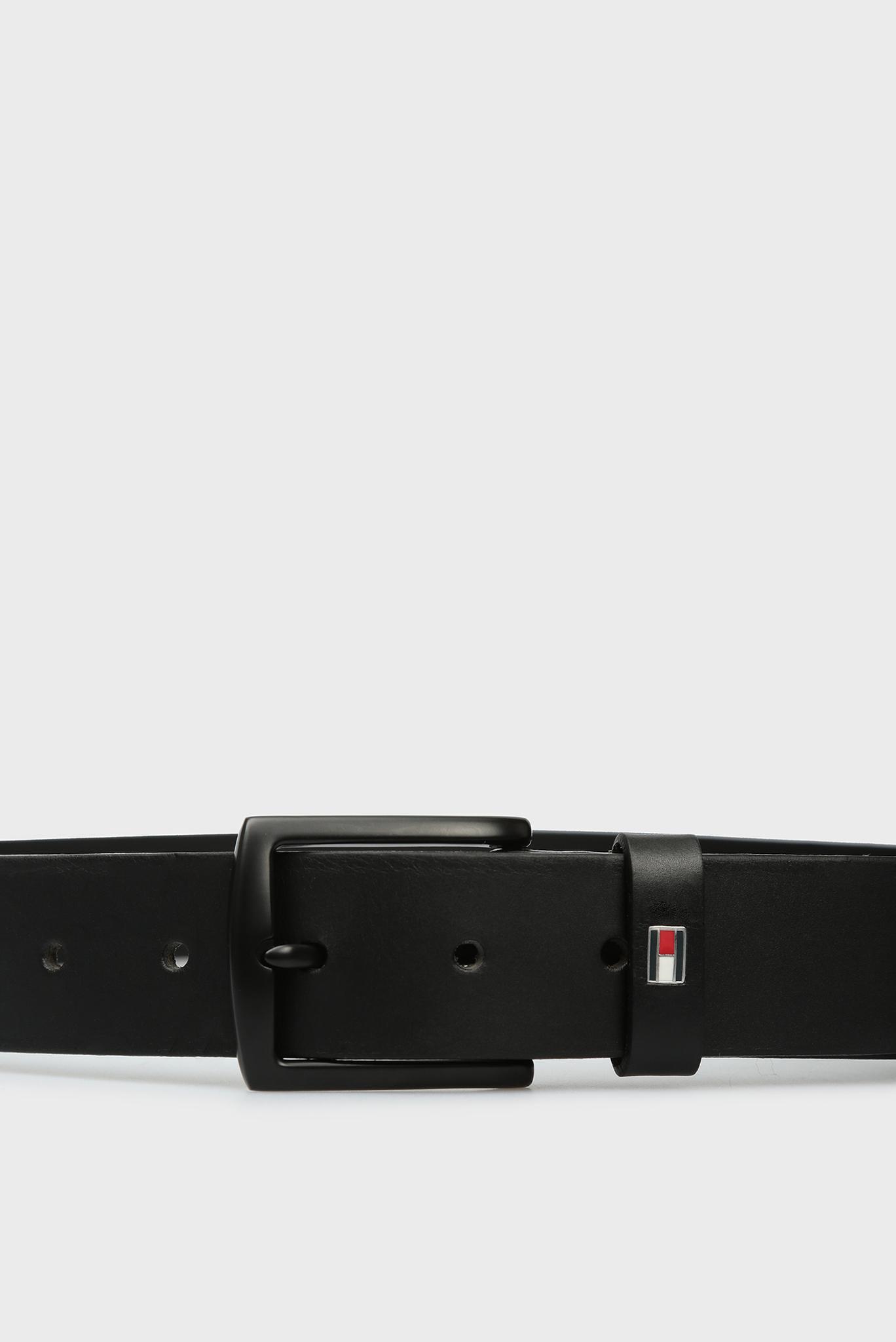Мужской черный кожаный ремень NEW DENTON Tommy Hilfiger