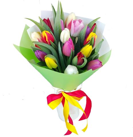 Букет из 17 микс тюльпанов 1