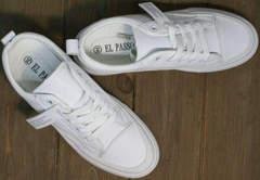 Кожаные кеды кроссовки белые женские El Passo 820 All White.