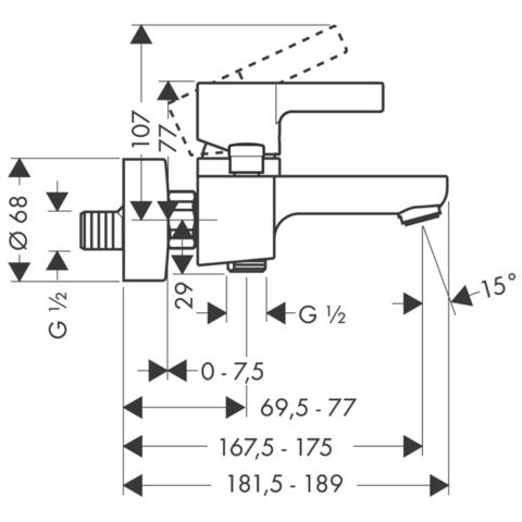 Смеситель для ванны Hansgrohe Matris S,  31460000 схема
