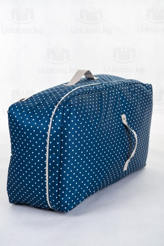 Мягкий средний кофр для одежды, M, 56*32*24 см (темно-синий в горошек)