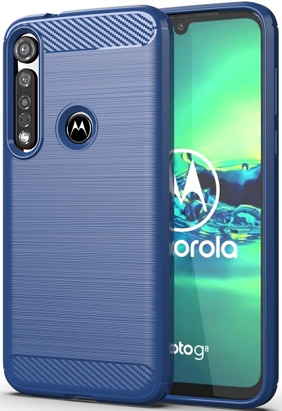 Чехол для Motorola Moto G8 plus цвет Blue (синий), серия Carbon от Caseport