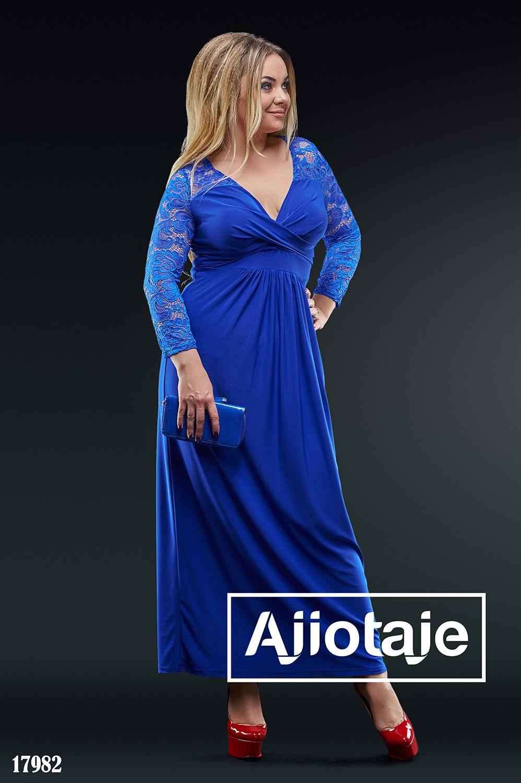 Платье в пол цвета электрик с вырезом на запах