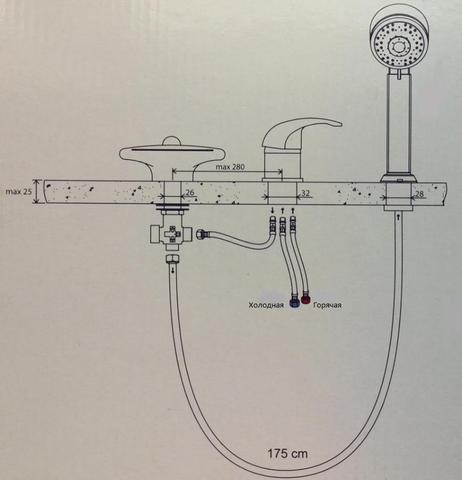 Смеситель на борт ванны каскадный  Ravak Rosa RS 025.00  схема