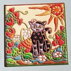 П0747 Декоративная плитка 10х10см кот с клубникой.