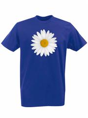 Футболка с принтом Цветы (Ромашки) синяя 001