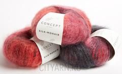 цвет 710 / алый с морковным оттенком, розово-сиреневый, дымчато-серый, коричневато-бордовый